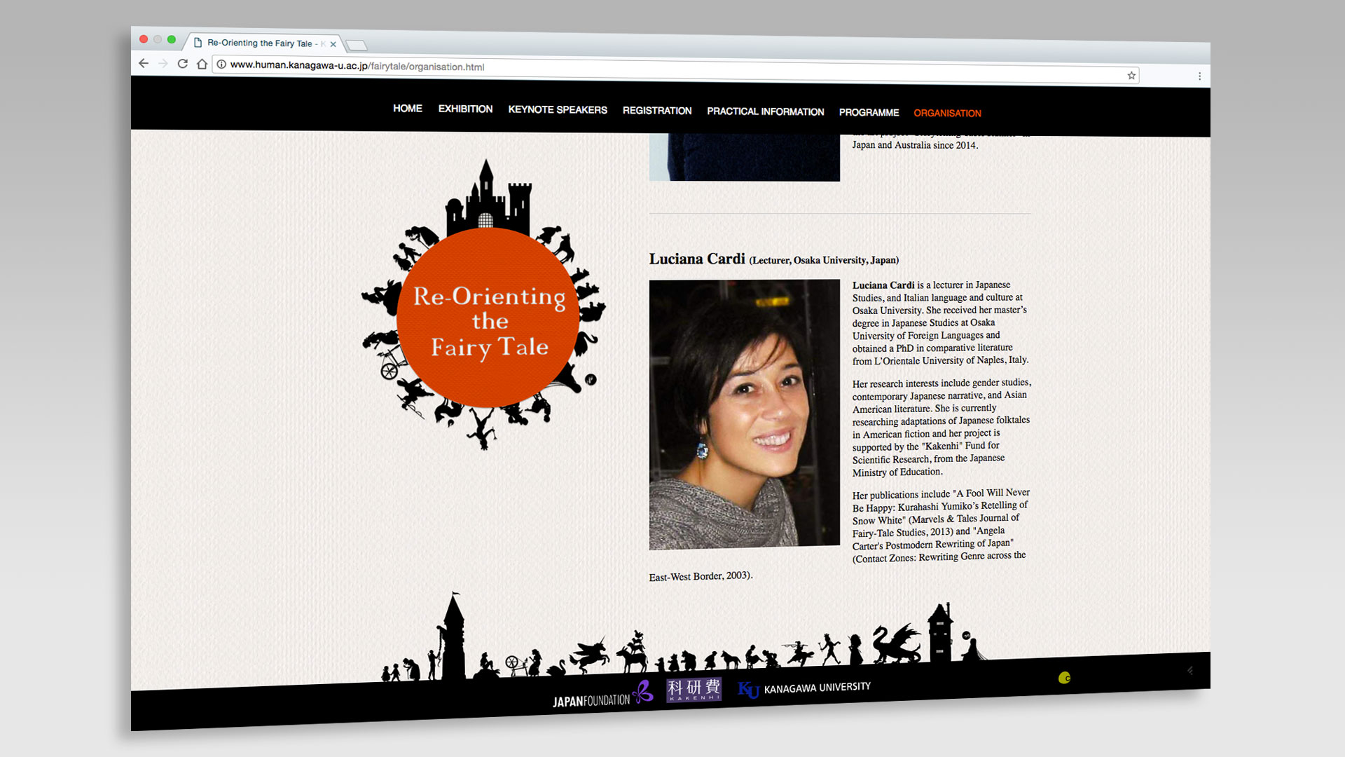 Organisers Page and the site footer